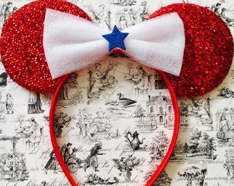 Cute Fourth of July White Tulle Bow inspired Red Sparkle Minnie Mouse Headband Ears