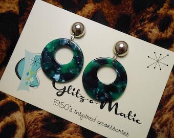 1950s style blue green hoop earrings glitzomatic glitz-o-matic