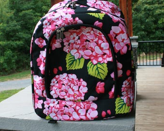 Monogrammed Floral Hydrangea Backpack Personalized Bookbag