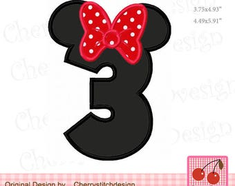 """Number 3 Mouse ears number 3 Minnie Birthday Machine Embroidery Applique Design - 4x4 5x5 6x6"""""""