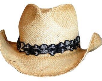 Beaded Hat Band - Skull & Crossbones Hat band - Adjustable Hatband - Black Hat Band - Cowboy Hat Band - Bad A** Hat Band - Hand Made hatband