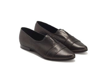 Loafers , Black Leather Shoes , Flats , Leather Shoes , Handmade Shoes , Women Shoes , Nora / Free Shipping