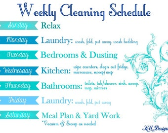 Weekly Cleaning Schedule - Weekly Cleaning Chart - Cleaning Chart - Cleaning Schedule - Weekly Cleaning Schedule Chart