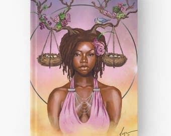 LIBRA- Zodiac Hardcover Notebook Blank Lined Writing Journal Diary African American Black Fantasy Artwork  Illustration by Sheeba Maya