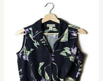 ON SALE Vintage Black Hawaiian Sleeveless cropped Silk Blouse from 90's/front tie*