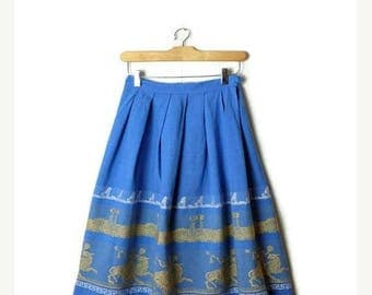 ON SALE Vintage Blue x Embroideries Cotton Flare  Skirt from 60's/W23*