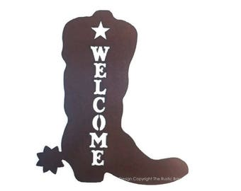 BOOT IMAGE WELCOME Sign made of Rustic Rusty Rusted Recycled Metal