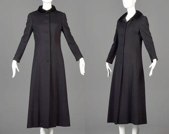 Long Black Coat Full Length Coat Vintage Wool Coat Black