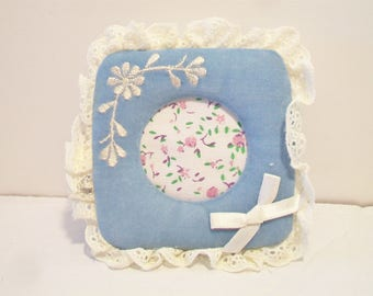 Vintage Giftco Inc Blue Velvet Square Picture Frame 1984 Taiwan Shabby Chic Home Decor