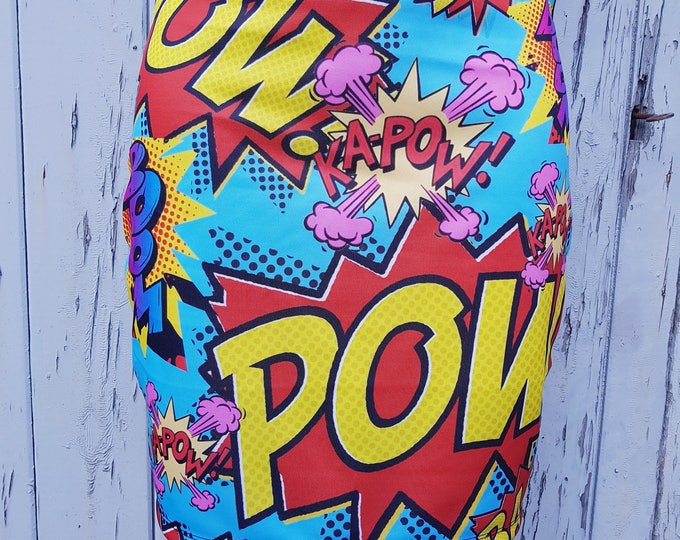 Comic Book Pow Mini Skirt - Size 12 14 Bodycon Geek Chic Cartoon Boom Superhero