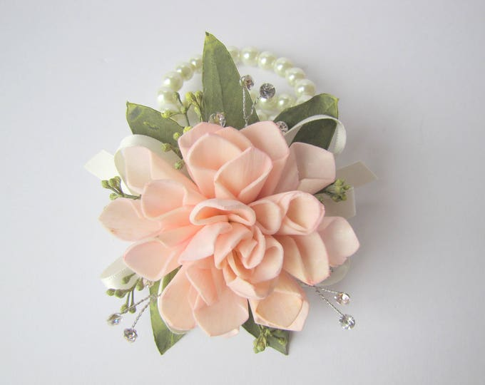 Dahlia and Rhinestone Wristlet - Available in multiple colors - Wrist Corsage - Keepsake Wrist Corsage - Prom Corsage - Homecoming Corsage