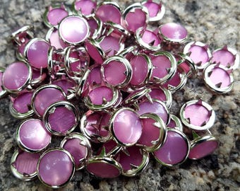 Pink Pearl Snaps, Pearl Snap Fasteners, 11 mm Pearl Snaps
