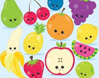 80% OFF SALE Fruit clipart characters clipart commercial use, fruit vector graphics, digital clip art, digital images - CL900