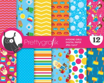 80% OFF SALE Chore girls digital paper, commercial use,  scrapbook papers,  hygiene background - PS883