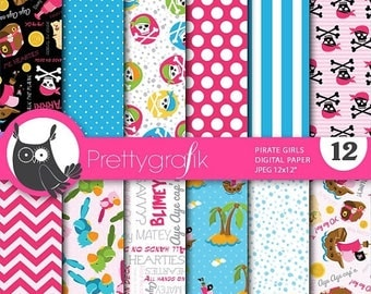 80% OFF SALE Pirate girl digital paper, commercial use, scrapbook papers, background - PS649