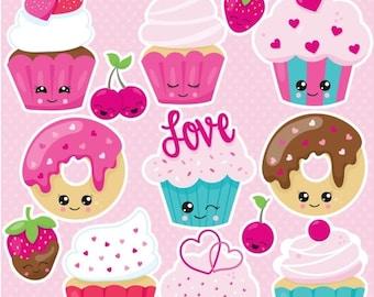 80% OFF SALE Kawaii valentine treats clipart commercial use,  vector graphics,  digital clip art, digital images  - CL1056