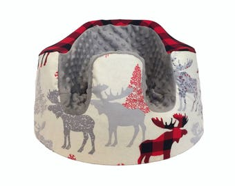 Red Plaid Moose Bumbo Seat Cover