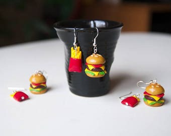 Burger fries bo burger earrings food jewelry fast food