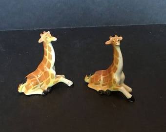 Miniature Bone China Giraffes - Pair