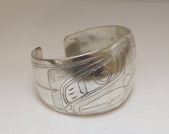 Vintage North West Coast Native Engraved Silver Bangle Bracelet-Eagle Design-Signed