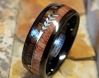 Black Tungsten Ring Two Tone Wood Inlay with a Silver Arrow in the Center Comfort Fit Personalized Engraving Mans Womens Wedding Band AZ216