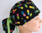 Pineapple Toss Ponytail - Womens lined surgical lined scrub cap, scrub hat, nurse surgical hat, 20+900b