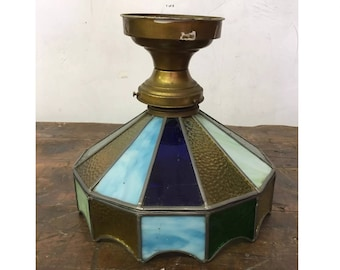 Vintage Stained Leaded Glass Light Fixture LAMP SHADE PENDANT Green Blue