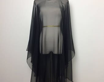 Vintage Dress/ Black Sheer Ruffled Cape Dress/ One Size Fits Most