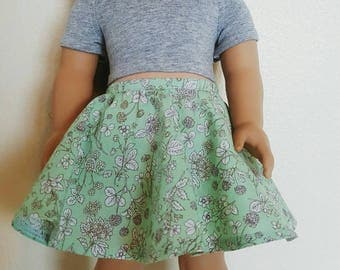 Green and Grey Floral skirt for 18 inch dolls by The Glam Doll