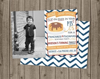 Photo Pancakes and Pajamas Birthday Invite - Rise and Shine Invite - Pancakes & PJs Invite - 5x7 JPG DIGITAL FILE (Front and Back Design)