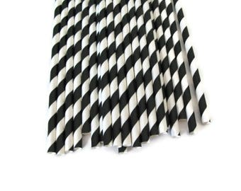 Black Stripe Paper Straws 25 Count | Black Paper Straws | Black and White Paper Straws | Black Stripe Party Straws | Black and White Stripe