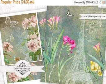 ON SALE Vintage Cards, Scrapbooking/Decoupage paper. Set of 4. Digital download for scrapbooking and packaging.