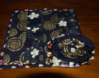 Black and Gold Quilted Mug Rug  - Placemat- Large Shabby Flower Measures 7 1/2 x  7 1/2  Coffee Cup Mat OOAK