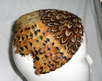Vintage Pheasant feather half hat ready to wear