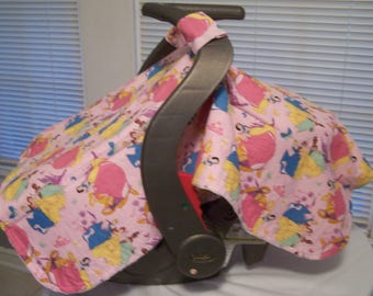 Disney's Princesses Cotton and Minky carseat canopy/carrier cover for infants/babies/baby.