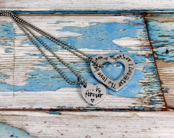 Mother and Daughter necklace set. The love between a Mother and Daughter is forever. A unique and thoughtful keepsake