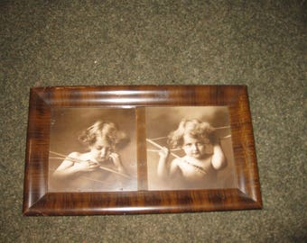 "CUPID AWAKE CUPID Asleep Antique Sepia Etching In Original Tiger Oak Frame 8 1/2"" x 14 1/2"" Prints From Photo Taken By M.B. Parkinson 1897"