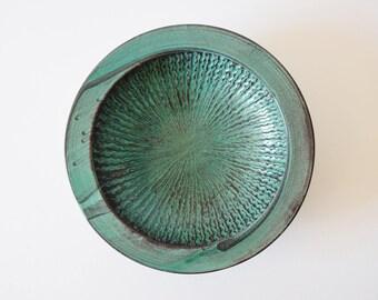 Rare big! Vintage Danish-  Kähler / HAK - huge bowl  - double glaze - green & black - Nils Kähler - mid century pottery