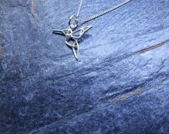 Sterling Silver Origami Hummingbird Necklace/Geometric/Hummingbird Pendant/Filigree/Bird Charm Necklace/Charm Jewellery/Filigree Bird