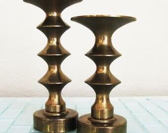 Modern Atomic Brass Candlesticks