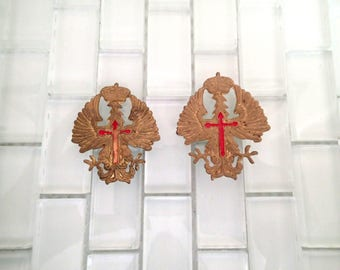 Spanish Fascist WWII Helmet Insignia Eagle Cross Red - 2 included