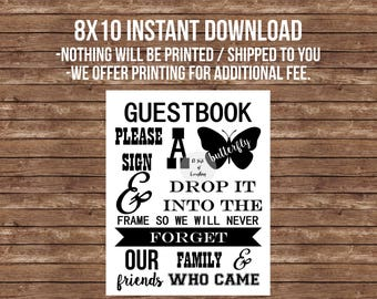 Guestbook sign- Printable- INSTANT DOWNLOAD- Please sign a butterfly and drop it into the frame- wedding, gala, fundraiser, advice