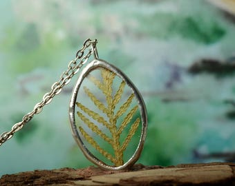dried grass necklace, botanical terrarium jewelry, real plant necklace, nature gift