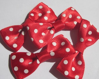 4 nodes colored polka-dot fabric satin 34 mm approx (A21)