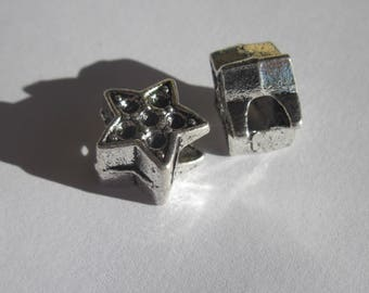 """2 large beads """"Star"""" metal silver 13mm big hole (2413)"""