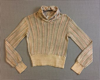 1970's, woven, semi-cropped, banded waist, cowl neck, turtleneck, in muted, earthy pastels, Women's size Small