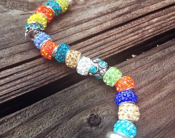 Colorful Turquoise, Royal, Blues with Bright Oranges, Yellows and Greens European  Bracelet - MY LIFE SERIES by Precision Princess