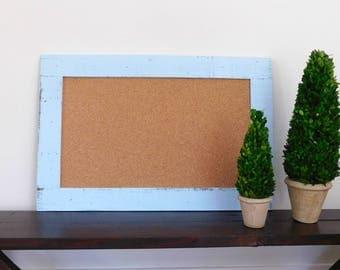 FRAMED CORK BOARD - Bulletin Board - Memo Board - 24 X 36 - Rustic, Industrial Wood - Shown in Pale Blue - Many Color Options