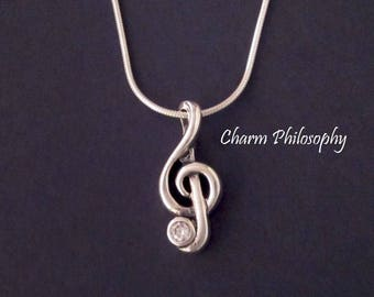 Music Note Necklace - 925 Sterling Silver Jewelry - Treble Clef Charm - Musician Gifts