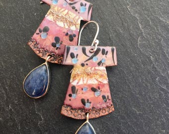 Kimono Earrings, Blue Kyanite Drops, Enameled Copper Dangle Earrings, Sterling Silver Bezel Gemstones, Japanese Earrings, Handmade Gift